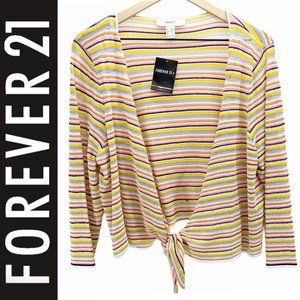 NWT FOREVER 21 Striped Tie Front Cropped Cardigan